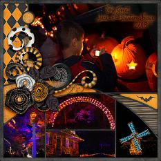 """The Great Jack-o-Lantern Blaze"" digital scrapbook layout by Laura Louie"