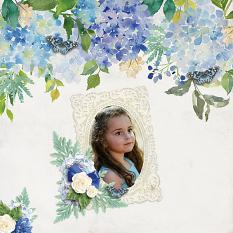 """True Blue"" digital scrapbook layout by Carmel Munro"