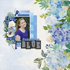 """Beauty in Blue"" digital scrapbook layout by Shauna Trueblood"