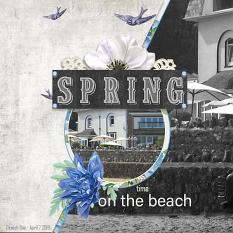 """Springtime on the Beach"" digital scrapbook layout by Marie Hoorne"
