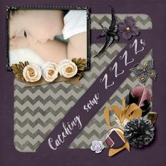"""Catching Some ZZZZs"" digital scrapbook layout by Darryl Beers"