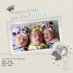 """""""Happy Girls"""" digital scrapbook layout by Andrea Hutton"""
