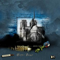 """""""Notre Dame"""" digital scrapbooking layout using Scrap Simple Embellishment Templates:  Stitched Text Frames"""