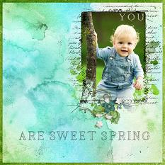 """""""You Are Sweet Spring"""" digital scrapbooking layout using Scrap Simple Embellishment Templates:  Stitched Text Frames"""