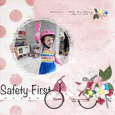 """""""Safety First"""" digital scrapbooking layout using Scrap Simple Embellishment Templates:  Stitched Text Frames"""