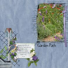 """""""Garden Patch"""" digital scrapbooking layout using Scrap Simple Embellishment Templates:  Stitched Text Frames"""