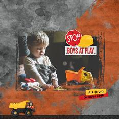 """Boys At Work"" digital scrapbooking layout using Scrap Simple Templates:  Crumpled Papers"