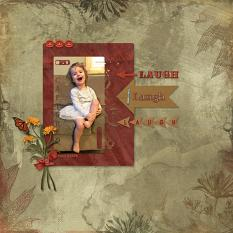 """Laugh"" digital scrapbooking layout using Scrap Simple Templates:  Crumpled Papers"