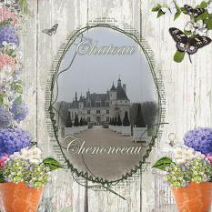 """""""Chateau Chenonceau"""" digital scrapbooking layout using Scrap Simple Embellishment Templates:  Stitched Text Frames"""