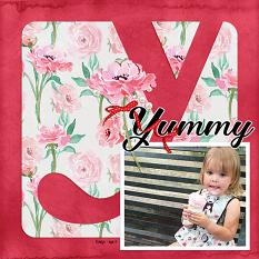 """Yummy"" digital scrapbook layout by Andrea Hutton"