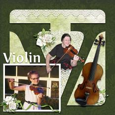 """Violin"" digital scrapbook layout by Sue Maravelas"