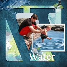 """Water"" digital scrapbook layout by Sue Maravelas"