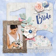 """Happy Bride"" digital scrapbook layout by Darryl Beers"