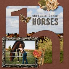 """Chrissie Loves Horses"" digital scrapbook layout by Darryl Beers"