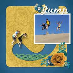 """Jump"" digital scrapbook layout by Sue Maravelas"
