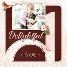 """Delightful"" digital scrapbook layout by Geraldine Touitou"