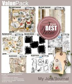 layout using My Junk Journal Papers Biggie by Florju Designs
