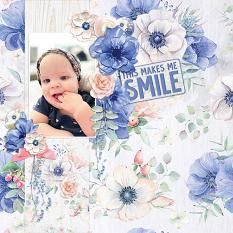 """""""This Makes Me Smile"""" digital scrapbook layout by Andrea Hutton"""