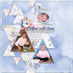 """""""Crafted with Love"""" digital scrapbook layout by Sue Maravelas"""