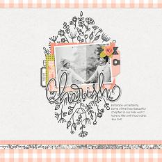 Scrapbook page uses Just Peachy Embellishment Mini