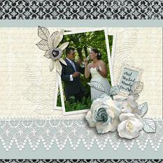 """Happily Ever After"" digital scrapbook layout by Debby Leonard"