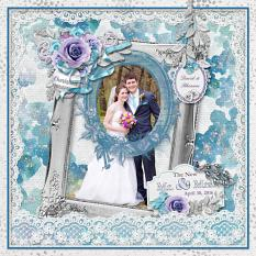 """Mr. & Mrs."" digital scrapbook layout by Sue Maravelas"