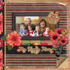 """My Happy Place"" digital scrapbook layout by Sue Maravelas"