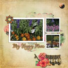 """My Happy Place"" digital scrapbook layout by Sondra Cook"