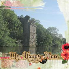 """My Happy Place"" digital scrapbook layout by Marie Hoorne"
