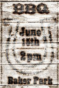 BBQ Party Invite created with Branded Wood Kit