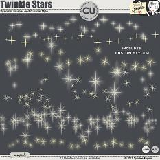 Twinkle Stars dynamic scatter brushes and layer styles
