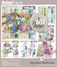 layout using Garden Summer Embellishment Mini : Clusters pack 2