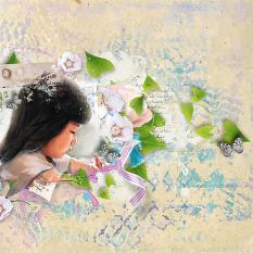 layout using Garden Summer Embellishment Mini :Accents by Florju Designs