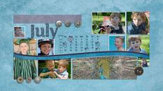 """July"" digital scrapbook layout showcases ScrapSimple Embellishment Templates: Basically Metal Buttons"