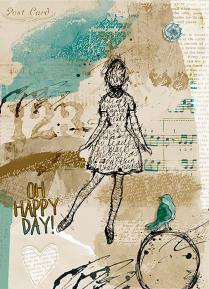 Scrapbook page created by Geraldine Touitou using Collaged Brush Set