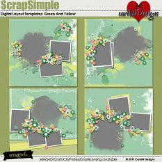 ScrapSimple Digital Layout Templates:Green And Yellow