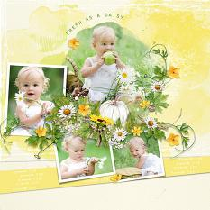 Layout using ScrapSimple Digital Layout Templates:Green And Yellow