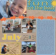 """""""Fun on the Boat"""" digital scrapbook layout features SSDLAT: Scrap It Monthly 5 Series 3"""