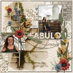 Fabulous In All Seasons, digital scrapbooking layout by Amy Flanigan featuring the Fall Farmhouse Collections