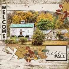 Welcome Fall digital scrapbooking layout by Carmel Munro featuring the Fall Farmhouse Collections