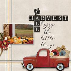 Fall Harvest digital scrapbooking layout by Debby Leonard featuring the Fall Farmhouse Collections