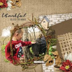 Thankful for Every Tiny Moment digital scrapbooking layout by Debby Leonard featuring the Fall Farmhouse Collections
