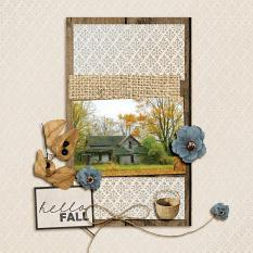 Hello Fall digital scrapbooking layout by Geraldine Touitou featuring the Fall Farmhouse Collections