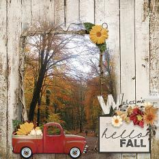 Welcome Fall digital scrapbooking layout by Marie-Christine Hoorne featuring the Fall Farmhouse Collections