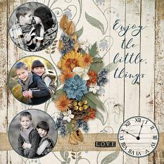 Enjoy The Little Things digital scrapbooking layout by Judy Webster featuring the Fall Farmhouse Collections
