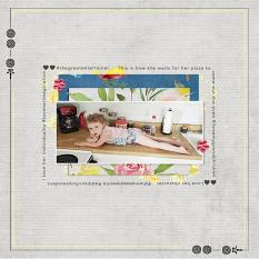 """""""Waiting for Pizza"""" digital scrapbook layout by Andrea Hutton"""