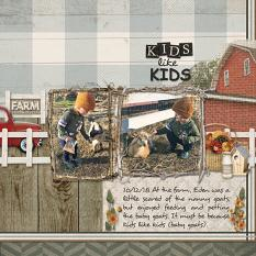 Kids Like Kids digital scrapbooking layout by Sue Maravelas featuring the Fall Farmhouse Collections