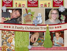 """""""Making Gingerbread Cookies"""" Right digital scrapbook layout features Value Pack: 8.5x22 Scrap It Monthly 5"""