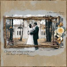 Ame and James digital scrapbooking layout by Ginny Whitcomb