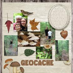 """""""Geocache"""" digital scrapbooking layout using Cozy Autumn Collections"""